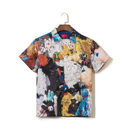China Summer New Mens Designer T Shirts Brand Doll Print Shirt Cardigan Short Sleeve Men Tee cheap doll m suppliers