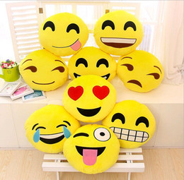 Kiss Figures NZ - 100pcs lot High quality 33cm soft emoji (Kiss Heart eyes Tear Smile Cool Angry Lovely) Stuffed Plush toy doll model Hold pillow
