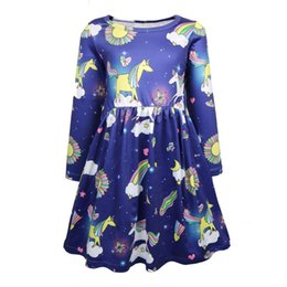 kids cotton frocks wholesale NZ - 12s Rainbow Unicorn Print kids clothes Kids Princess Birthday Party Frock Toddler Cosplay Costume Ice Silk Summer Casual Dresses 1