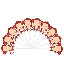 cute cupcakes Australia - 10pcs lot Cute monkey Theme Party Cupcake Toppers For Family baby shower Birthday Party Decoration Supplies
