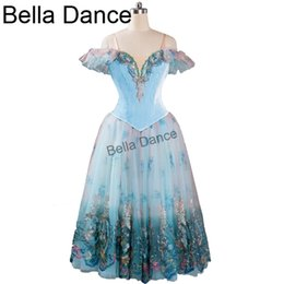 Discount adult ballet costumes - Blue Velvet Lyrical Professional Adult Ballet Dress Long Skirts Women Performance Clssical Stage Costume BT9116
