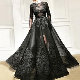 Sheer Black Dress Australia - Fashion Black Beaded Prom Dresses Sheer Jewel Neck Lace Appliqued Long Sleeves Formal Dress Floor Length A Line Tulle Evening Gowns