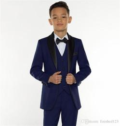 Fashion Formal Boy Suit Australia - Excellent Fashion Navy Blue Kids Formal Wear Suit Children Attire Wedding Blazer Boy Birthday Party Business Suit (jacket+pants+vest)
