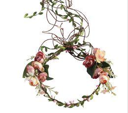 $enCountryForm.capitalKeyWord Australia - Bridal flower crown kids simulation flower princess garlands fresh style children rattan weaving wreath women beach headbands F7644