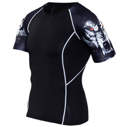 $enCountryForm.capitalKeyWord UK - Wholesale New Compression Shirt Splicing Sleeve Fitness Men Wolf Skull Anime 3D T Shirt MMA Short Sleeve Crossfit Bodybuilding Tee Shirt