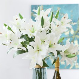 $enCountryForm.capitalKeyWord Australia - New 3d Printing Lily Branch Artificial Flowers For Home Table Wedding Decoration Plastic Fake Flower Flores Artificiais
