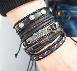 Discount braided feather bracelet - Vintage Leaf Feather Multilayer Leather Bracelet Men Fashion Braided Handmade Star Rope Wrap Bracelets Bangles Male Gift