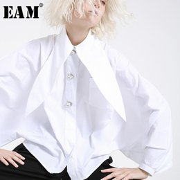 spring summer nails Canada - [EAM] 2020 New Spring Summer Lapel Long Lantern sleeve Nailed Temperament Large Size Brief Shirt Women Blouse Fashion JH362 Y200623