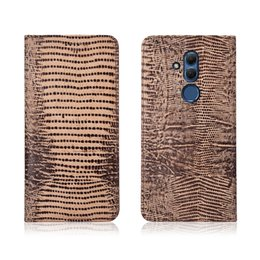 Mate Genuine Leather Australia - Lizard Pattern Genuine Leather Case With Card Slot For Huawei Mate 20 Lite Flip Phone Bag For Huawei Maimang 7 Flip Case Kickstand
