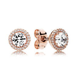 pandora earrings women 2020 - Round Sparkle Halo Stud Earring Luxury Rose gold plated for Pandora CZ diamond small earrings for Women Girls with Origi