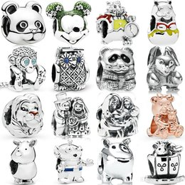 sterling silver panda charm Australia - FAHMI 100%925 Sterling Silver Bear Dog Rabbit Panda Mouse OWL Rhinoceros Alien Monkey LionGlamour Rose Charm Fashion Beaded Gift