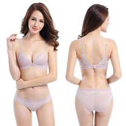 natural color closure NZ - Brand New 3 Colors Women Sexy Casual Lace Thin 3D Cup Demi Back Closure Wire Free Brief Bra Sets Type Wear Underwear Corset Lingerie Set ne1