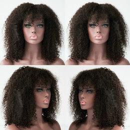 glueless lace wigs for black women Canada - Kinky Curly Human Hair Wig with Bangs for Black Women Short Brazilian Glueless Full Lace Wig Natural Color