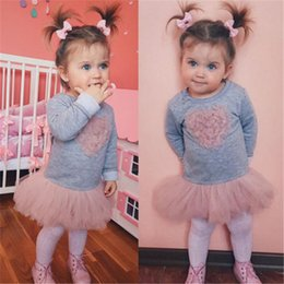 pink heart tutu NZ - Baby Girl Dresses 2020 New Year Costumes For Girls Fashion Kids Long Sleeve Heart Lace Tutu Tulle Dress Baby Girls Clothes Cute Vestido