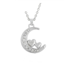 $enCountryForm.capitalKeyWord UK - DN025 Fashion Popular Crystal Moon Necklace With Two Hearts I Love You To The Moon And Back Jewelry