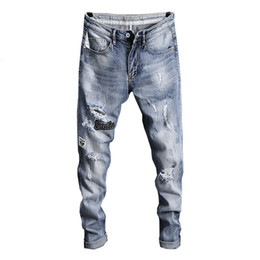 $enCountryForm.capitalKeyWord UK - 2019 Hot Ripped Jeans for Men Summer Thin Hip Hop Light Blue Stretch Biker Men's Trousers Holes Distressed Slim Casual Pants