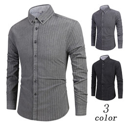 $enCountryForm.capitalKeyWord Australia - Mens Shirt Solid color Stripe Formal Shirts For Men Loose Long Sleeve Button Turndown Collar Painting Casual Top Blouse Shirts