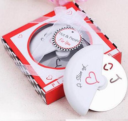"""Pizza Love NZ - Free shipping 100 pcs """"A Slice of Love"""" Stainless Steel Pizza Cutter in Miniature Pizza Box wedding favors and gifts for guest"""