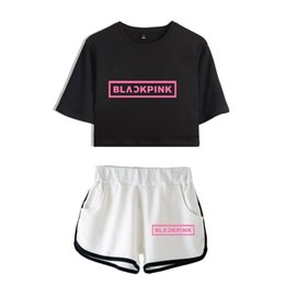 $enCountryForm.capitalKeyWord Australia - New Blackpink Two Piece Set Summer Sexy 2018 Cotton Printed T Shirt Album Woman Suit Shorts Crop Blackpink Fashion Tops+short J190427