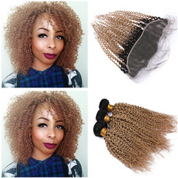 $enCountryForm.capitalKeyWord Australia - Kinky Curly #1B 27 Honey Blonde Ombre Lace Frontal Closure 13x4 with Weaves Light Brown Ombre Curly Malaysian Hair 3Bundles with Frontal