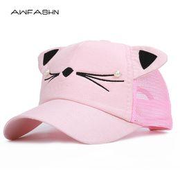 5023d6f41f Girls Cat Baseball Cap Australia - 2019 Summer Brand Children Net Cap  Adjustable Cute Embroidered Hat
