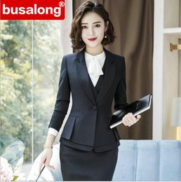 a28ba226769b 2019 Spring splict fashion Formal interview skirt suits OL long sleeve sim  blazer and SKirt office lady plus size work wear 4xl