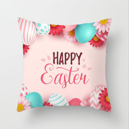 "hunting decor 2020 - 18""*18"" Easter Bunny Rabbit Egg Hunt Pillowcase Cushion Pillow Cover Easter Day Chocolate Egg Chicken Easter D"