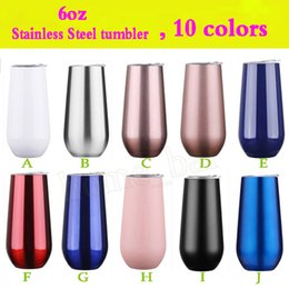 tumblers cups Australia - 20 colors 6oz Stainless Steel tumblers beer Champagne flutes Vacuum insulated tumbler With Lid Wine Glass coffee mugs water bottles car Cups