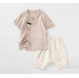 $enCountryForm.capitalKeyWord Australia - Summer 2019 New Kids Short Sleeve Suit Han Suit National Wind Cotton and Hemp Boys Trousers Suit