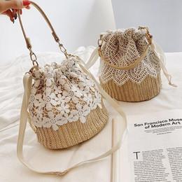 $enCountryForm.capitalKeyWord UK - Fashion Straw Women Handbag Handmade Rattan Shoulder Bag Ladies Lace Beach Bag Drawstring Crossbody Summer Travel Bags Y19062003