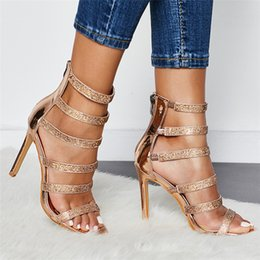 Gold dress shoes straps online shopping - Women Sandals High Heeled Rhinestone Shoes Wedding Dress Shoes Open Toe Thin Heels Gladiator Sandal Women Pumps