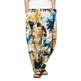 $enCountryForm.capitalKeyWord UK - 2019 New Summer Men's Pants Thai Flower Print Style Cotton Linen Trousers Harem Pants Man Loose M-5XL Beach Pant Chinese Style Y19060601