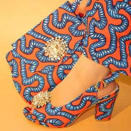 $enCountryForm.capitalKeyWord Australia - Fashionable orange women pumps with crystal style african blue printed wax pattern dress shoes match handbag set V242-8,heel 7CM