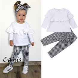 girls ruffle pant suits 2019 - PUDCOCO Newest Toddler Kids Baby Girls Outfits Sets kids Girl Clothes Ruffle T-shirt +Plaid Pants 2PCS Child Suits Set 1