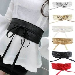 Discount metallic women belts wholesale - 1PC Spring Elegant Women Fashion Metallic Color Soft Faux Leather Wide Belt Self Tie Wrap Around Waist Band Sequins Dres