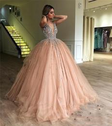 $enCountryForm.capitalKeyWord Australia - Luxury Crysatl Beaded Peach pink Prom Dresses Sexy v Neck Beaded Collar Floor Length A Line quinceanera Dresses 2019