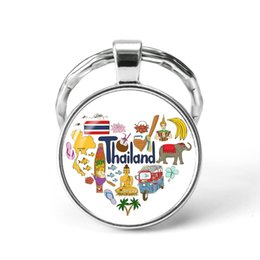 Russia Coin Australia - Style6 Quotes Jewelry Ethnic Style Keychain Russia USA France Italy Finland Indianationality Keyring Glass Cabochon Keyring Keychain