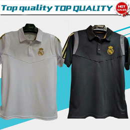 Polo shirt suits online shopping - 2019 Polo Real madrid White Soccer Jerseys Men Soccer POLO suit Black Football Uniforms Sport Shirts On Sale SIze S XL