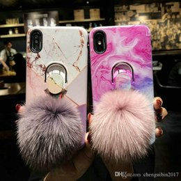 Note Hair Australia - Marble texture hair ball holder mobile phone case cover for iphone Xs max Xr X 7 7plus 8 8plus 6 6plus
