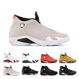$enCountryForm.capitalKeyWord Australia - Quality 14 14s Candy Cane Black Toe Fusion Varsity Red Suede Men Basketball Shoes Last Shot Thunder Black Yellow DMP Sneakers