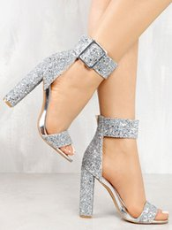 Party Sandals Banquet sexy ladies Womens open toes Super High Heels Shoe  Ladies Platform chunky heel 10 cm Glitter bling fast shipping 5f3f015f9ba1
