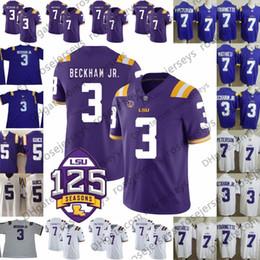 52d70ce5e 2019 LSU Tigers #3 Odell Beckham Jr. Hot Sell Jersey 7 Leonard Fournette  Tyrann Mathieu Patrick Peterson 5 Derrius Guice Purple White 125th