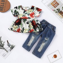 BaBy pants holes online shopping - kids designer clothes girls outfits children Floral dress Tops Hole denim pants set fashion baby Clothing Sets styles C6571