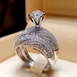 Finger Rings For Girls Australia - 2019 Fashion 2Pcs Wedding Rings Set for Women Girls Silver Filled Crystal Zircon Couple Finger Engagement Ring Jewelry Size 6-10