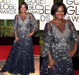 Discount golden maxi dress - 73rd Golden Globes Award 2019 Celebrity Dresses Viola Davis Sheer Neck Beads Evening Dress Half Sleeves Plus Size Maxi P