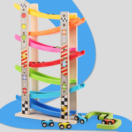 Discount cars toys track - Wooden 7-layer Ramp Race Track & 8 Mini Inertia Car Sliding Toy Vehicel&train Baby Toddler Motor Skill Developmental Kid
