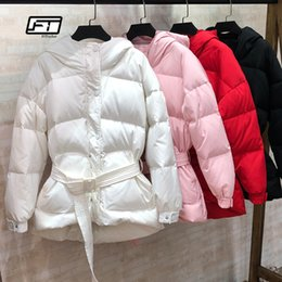 Pink Parkas Australia - Fitaylor Ultra Light Down Jackets Women Winter Slim Hooded Duck Down Coats Parkas With Belt Black Pink Red Snow Outwear