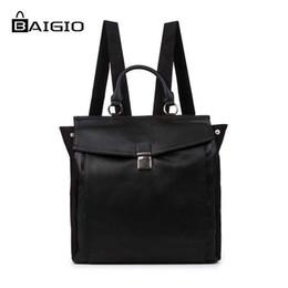 Style Men Top Korean Australia - Wholesale- Baigio Men Vintage PU Leather Backpack Multi Pockets Travel Rucksack Top Quality Brand Fashion Preppy Style Backpacks
