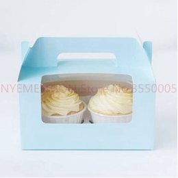 Discount cupcakes holders boxes - Cupcake Box With Window 2 Holes Cake Muffin Packing Boxes Wedding Birthday Pastry Gift Holder Packaging Supplies handle