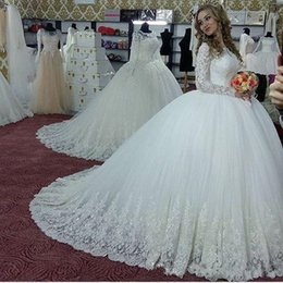 $enCountryForm.capitalKeyWord Australia - Modest Ball Gown Wedding Dresses with Glitter Appliques Long Sleeves Wedding Gowns with Corset Back Closure Custom Made Bridal Dresses